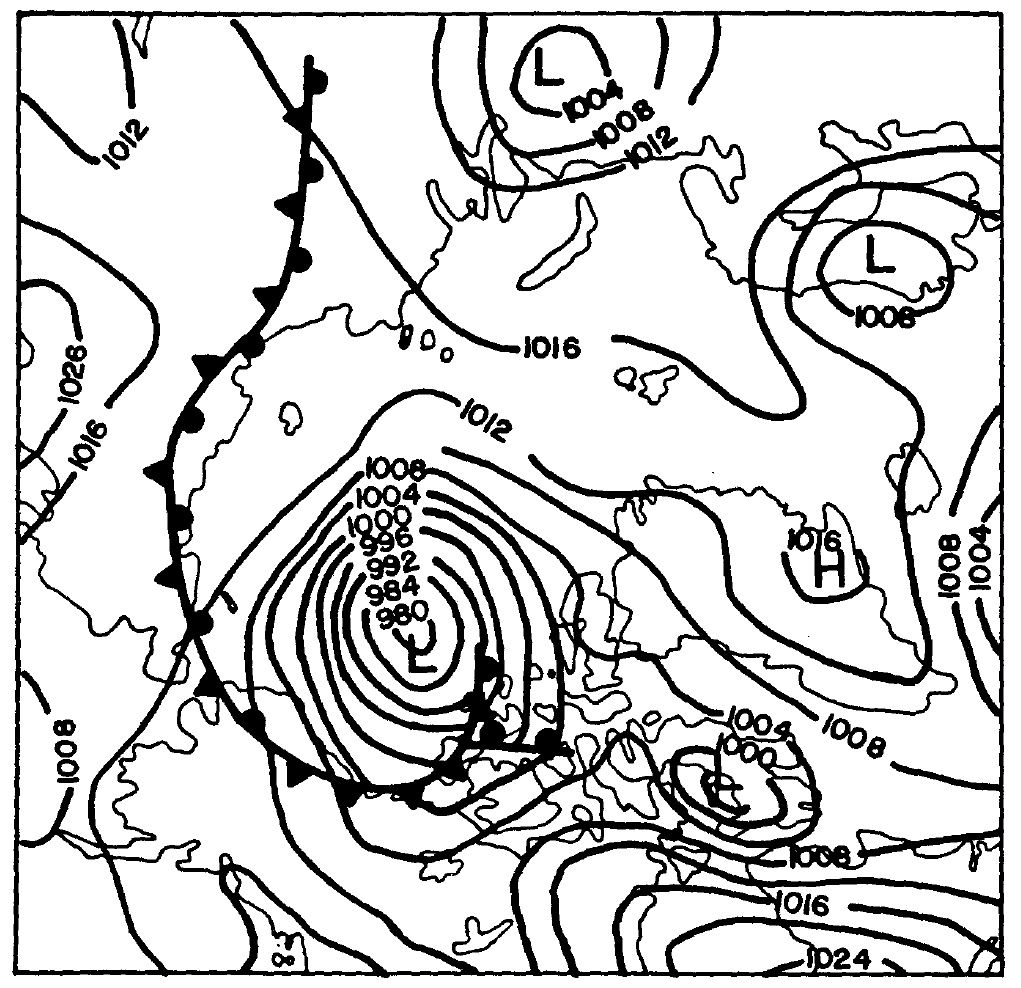 example of a winter synoptic chart for australia