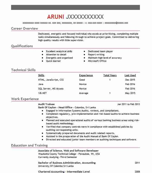 internal audit cv example acca