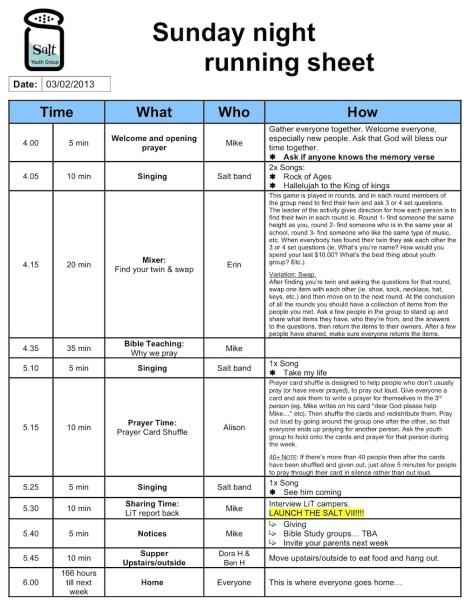 example run sheet for an event