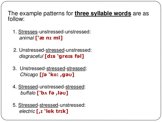 example of first syllable stress