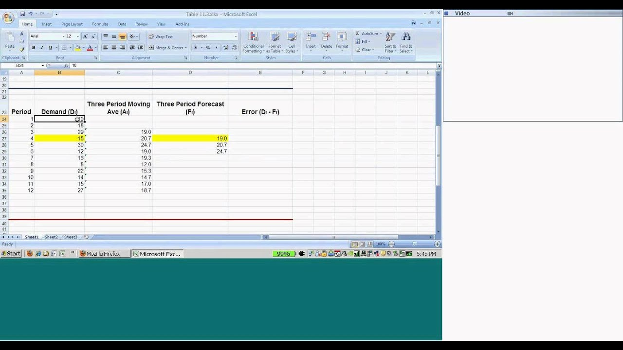 moving average example in excel 2007