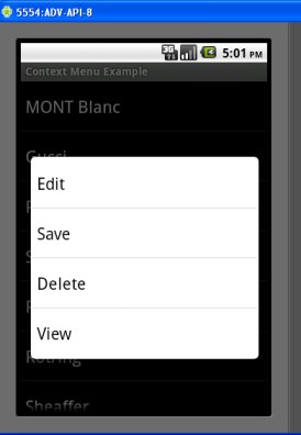 context menu in android example