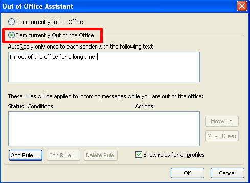 out of office response example