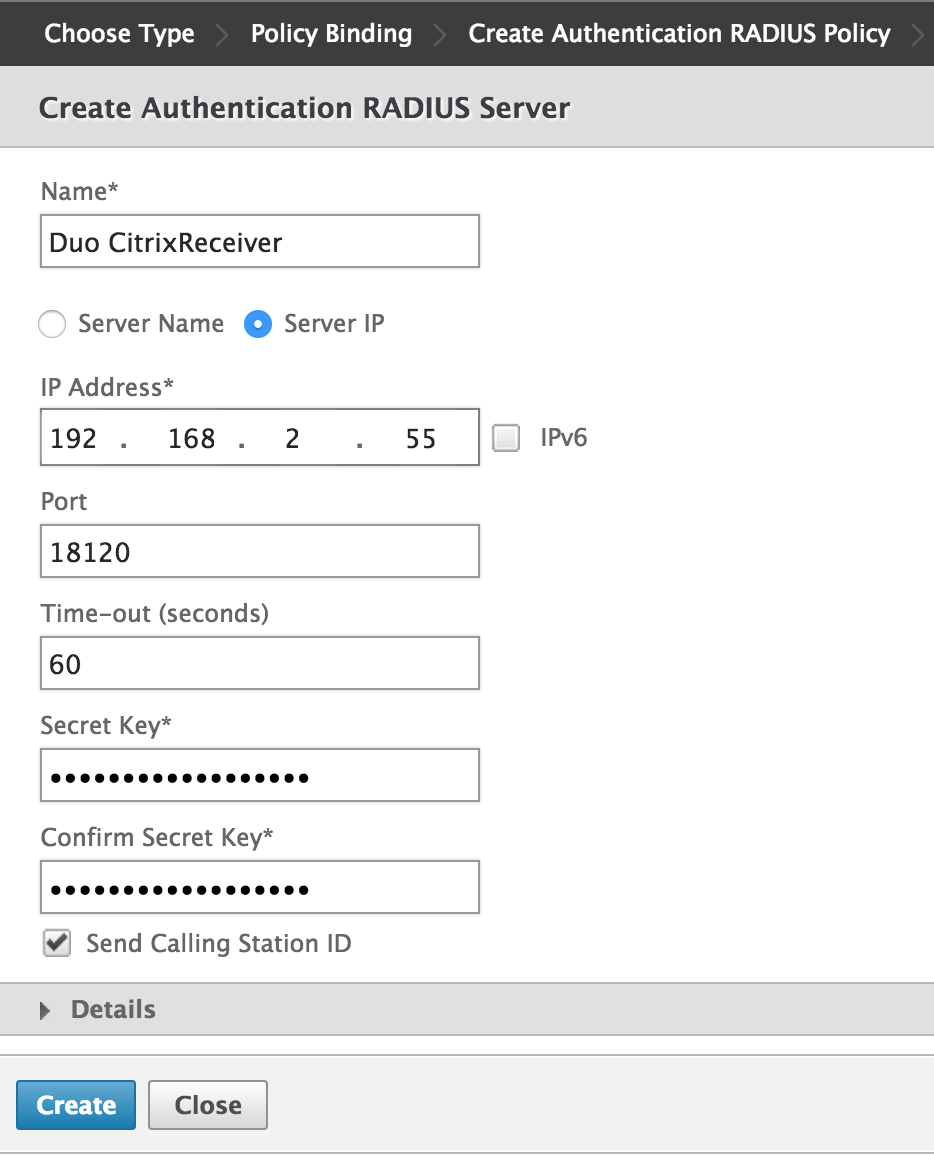 citrix receiver server address example