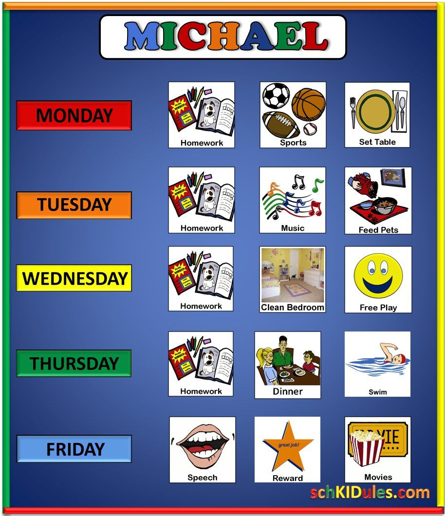 autism kids example weekly task chart