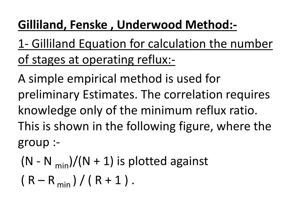 fenske underwood gilliland method example
