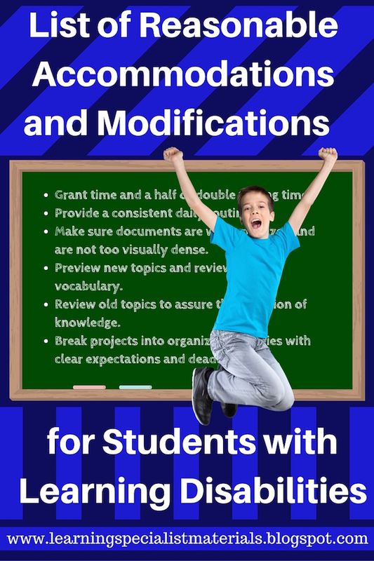 example of modifications for special needs students