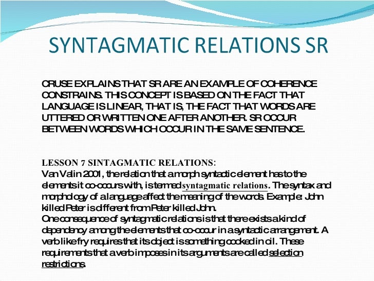 difference between syntagmatic and paradigmatic with example