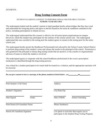 drug testing consent form example