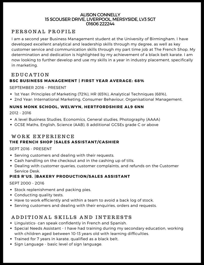 example of curriculum vitae for undergraduate student