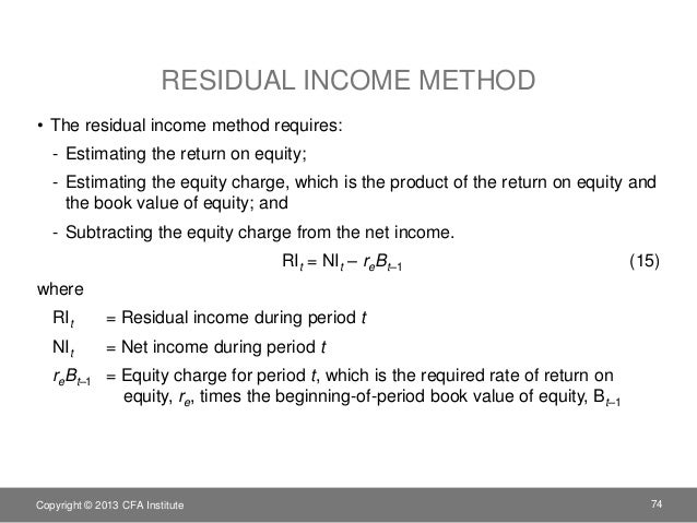 residual income valuation model example