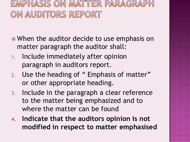 emphasis of matter paragraph audit report example