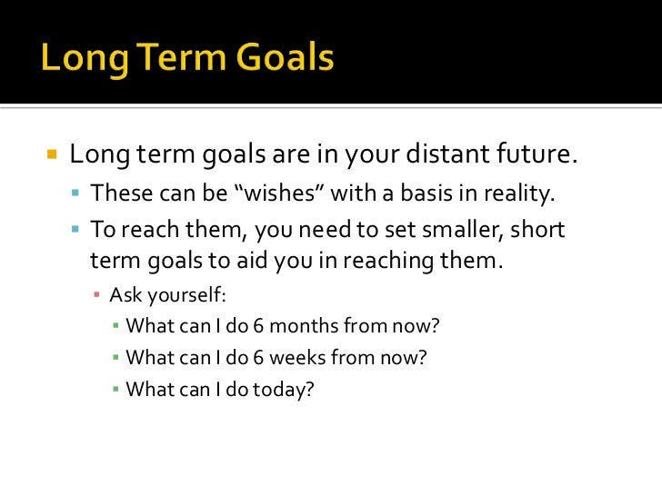 example of short term goals smart