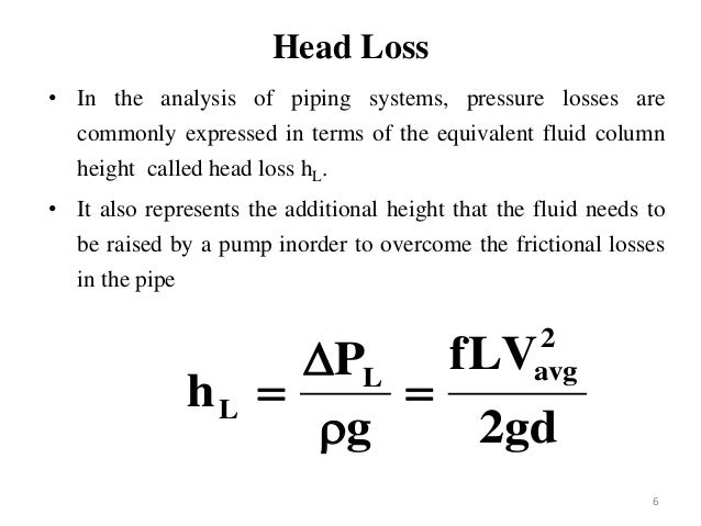 head loss in pipe example