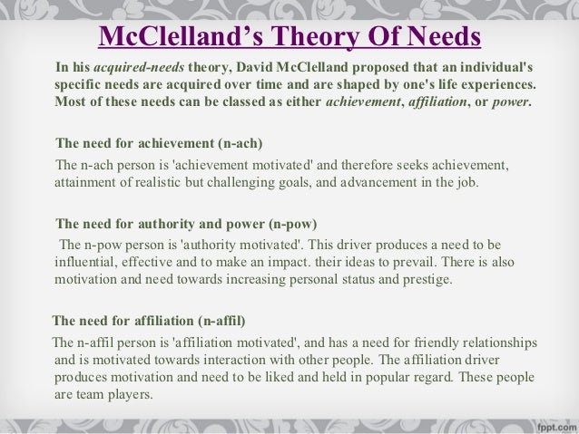 mcclelland theory of motivation with example