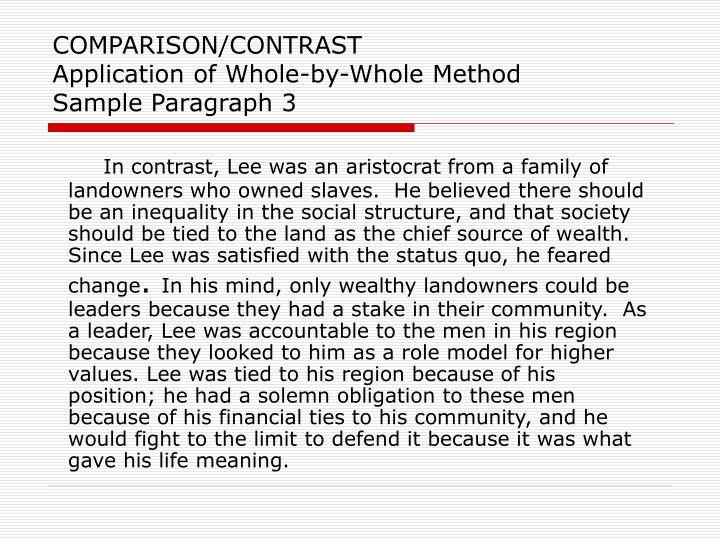 paragraph by comparison and contrast example