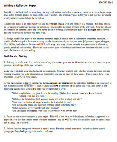 reflection paper example essays pdf