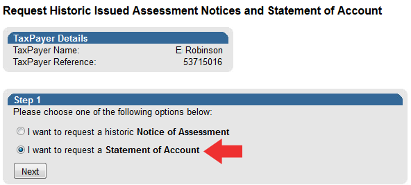 sars statement of account example