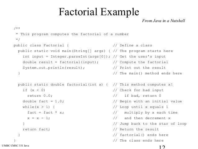 static program example in java