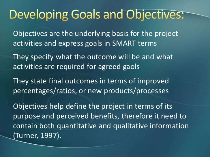 what is the difference between goal and objective with example